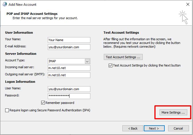 Account Details dialog