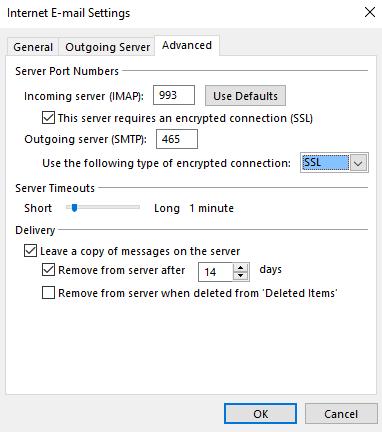 Advanced Settings for IMAP