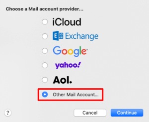 Other Mail Account screenshot