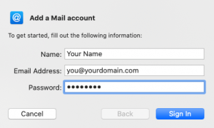 Add a Mail account first screenshot