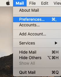 Select Mail > Preferences screenshot.