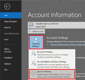 Select Account Settings and then Server Settings