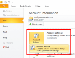 Outlook 2010 Account Settings Button