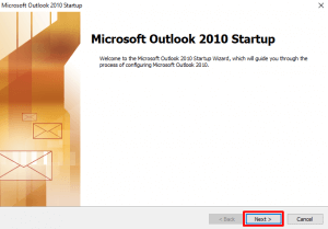 Outlook 2010 Welcome Dialog
