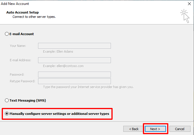 Outlook 2010 Select Manual Setup