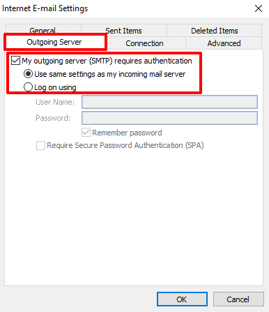 Outlook 2010 Outgoing Server Settings