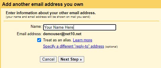 Gmail enter name for outgoing mail