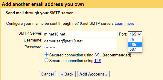 Gmail SMTP server
