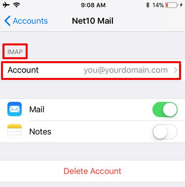 iOS 13 Edit Settings - Select Account