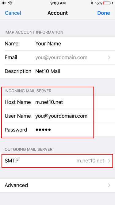 iOS 13 Incoming Server Settings Update
