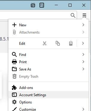 Thunderbird 3 lines icon - Account Settings