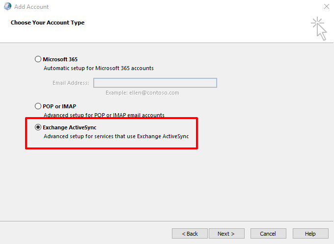 Click Exchange ActiveSync