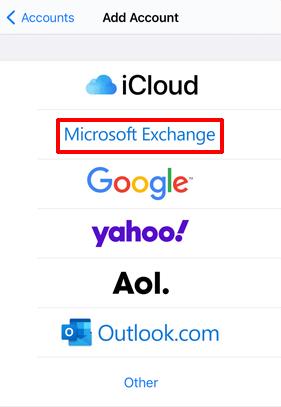 Select Microsoft Exchange