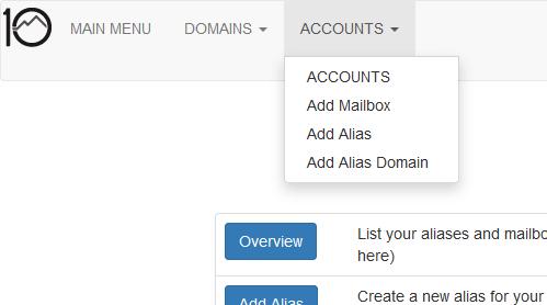 Mail Admin Main Menu