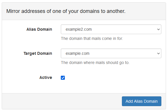 Mail Admin - Add Domain Alias