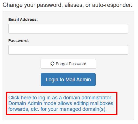 User Mail Admin - Login
