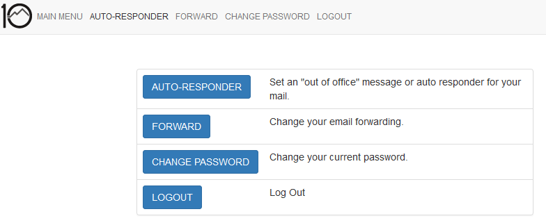 User Mail Admin - Main Menu