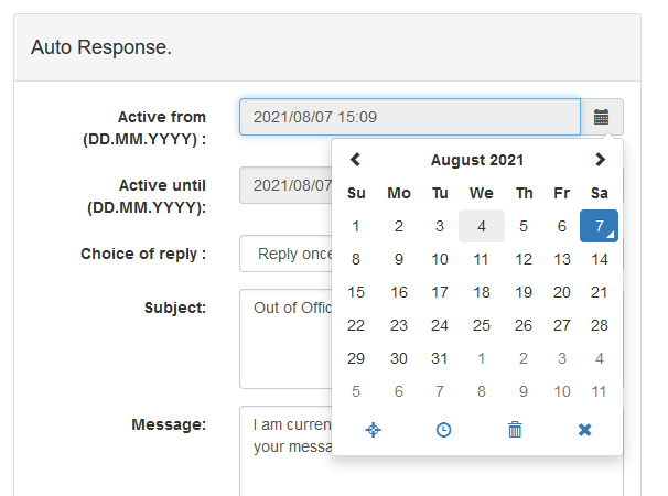 User Mail Admin - Auto-Responder