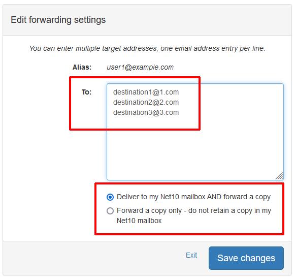 User Mail Admin - Forwarding