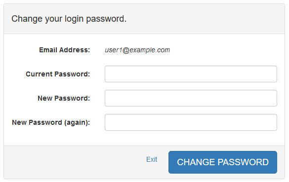 User Mail Admin - Change Password